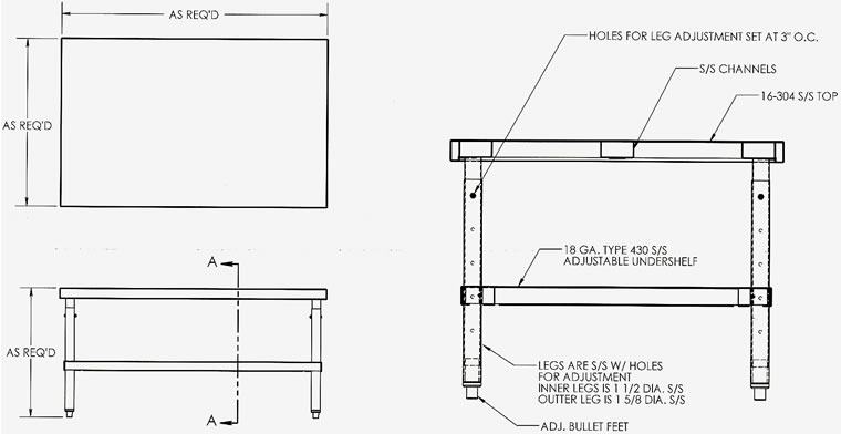 Adjustable Stainless Steel Work Benches Benches Work