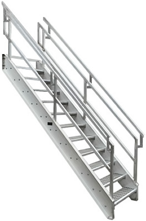 Aluminum Osha Stair With Outboard Guard Galvanized Stairs
