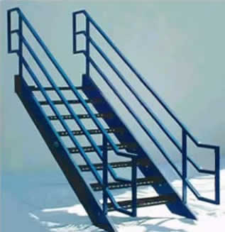 Aluminum Stairs With Horizontal Platform Extensions