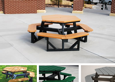 hex and square tables picnic tables site furnishing recycled rh fsindustries com