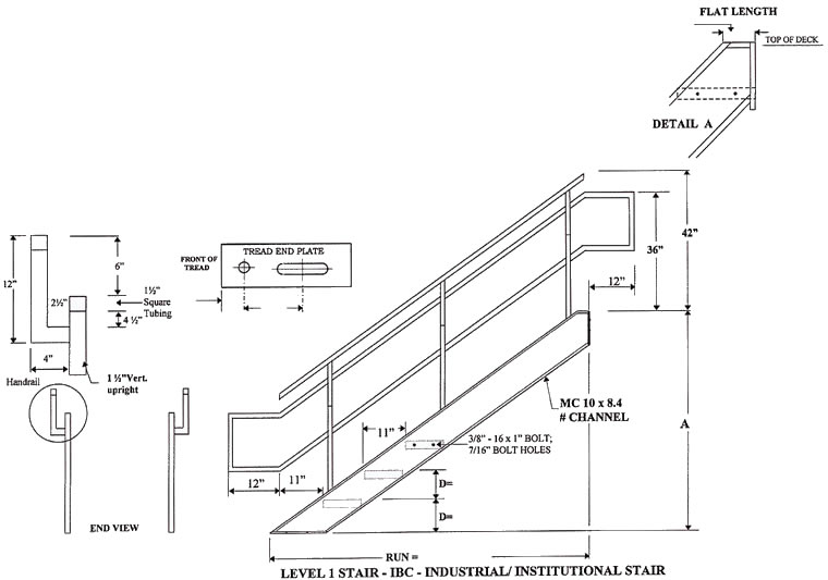 Osha Floor Elevation Change : Industrial institutional ibc stairs prefab steel