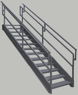 Osha Stairs With Outboard Guard Galvanized Stairs