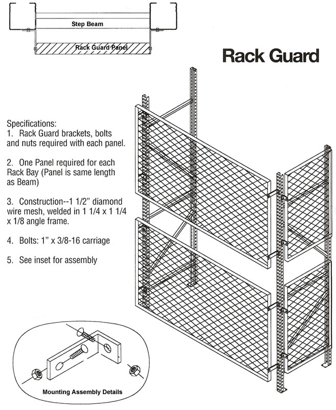 rack guard  steel rack guards  rack safety  welded wire mesh rack guard system