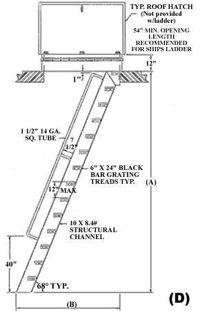 Ships Ladder Extented Handrail, Ships Ladder