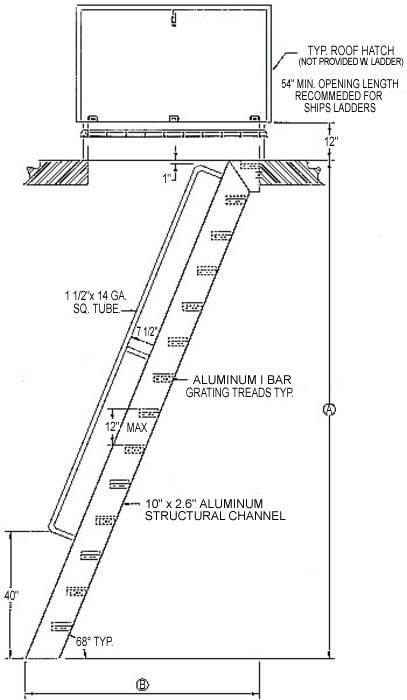 Welded Aluminum Hatch Access Flush Top Ships Ladder Hatch