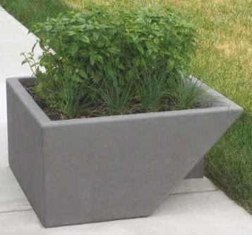 Concrete Planter With Stainless Steel Fin Concrete